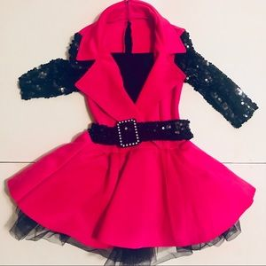 Girls Pink and Black Sequin Dance Recital Costume